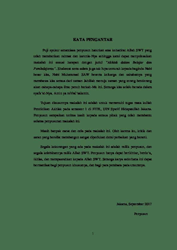 Contoh Makalah Pendidikan Akhlak Contoh Surat