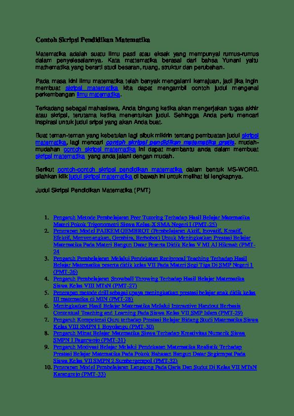 17 Contoh Judul Skripsi Pendidikan Matematika Analisis