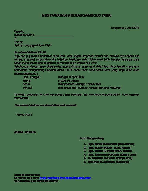 Doc Contoh Surat Undangan Musyawarah Keluarga Rahmat Hidayatullah