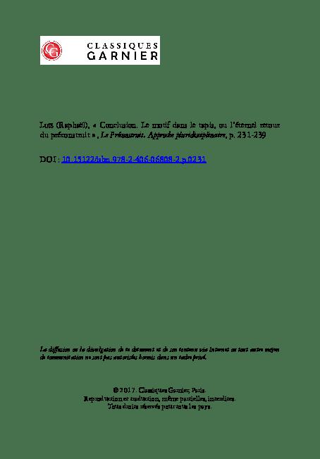 pdf le motif dans le tapis ou l