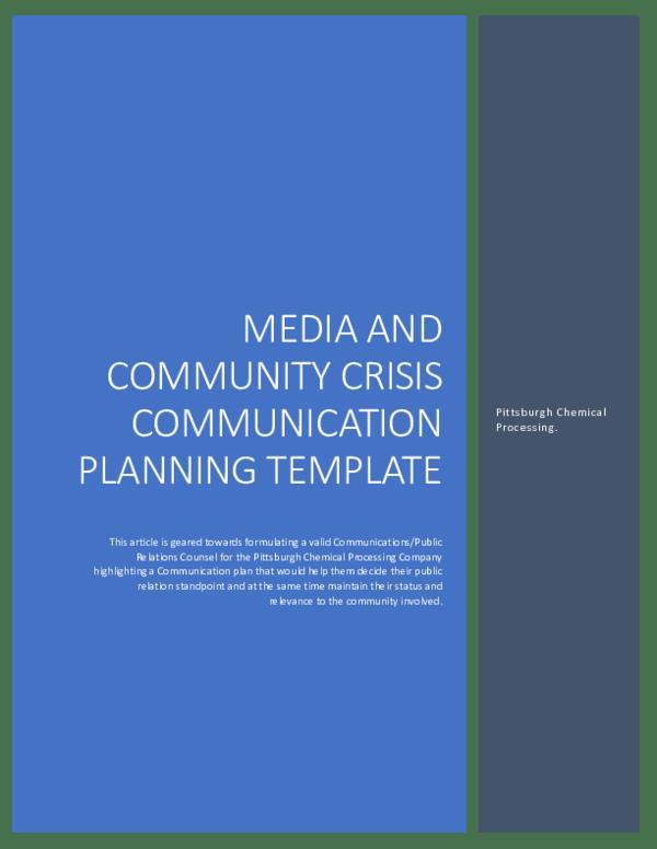 Pdf Media And Community Crisis Communication Planning