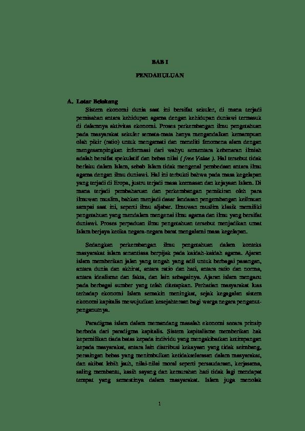 Contoh Latar Belakang Makalah Ekonomi Islam Contoh Surat