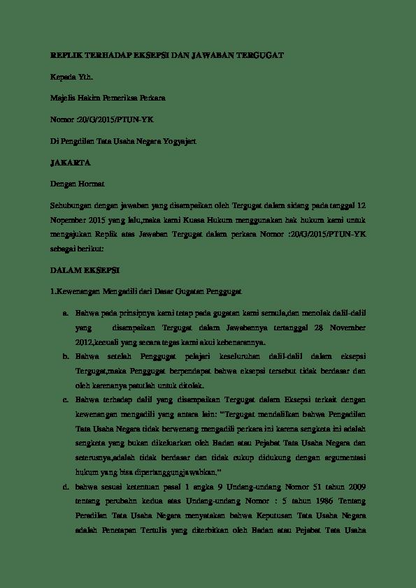 Contoh Surat Eksepsi Dalam Ptun Download Kumpulan Gambar