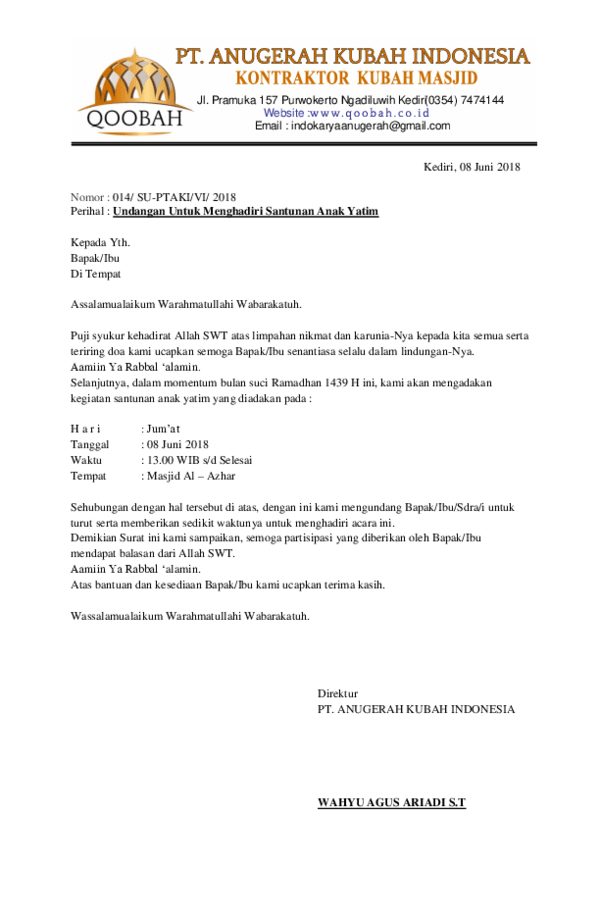 Doc Surat Undangan Anak Yatim Aditya Saja Academia Edu