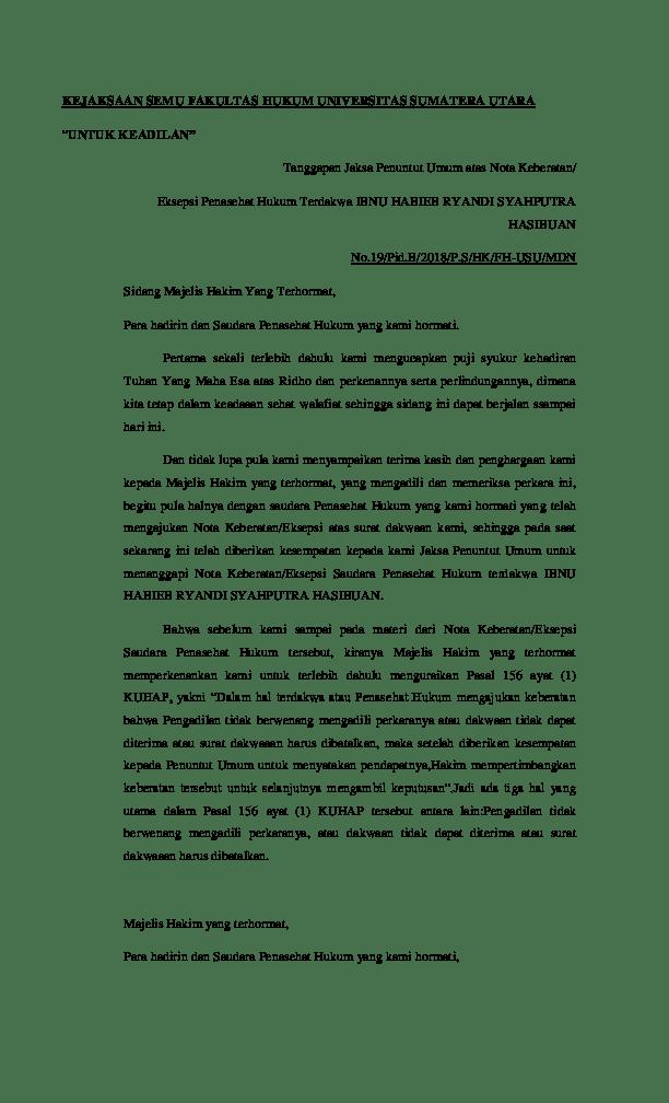 Contoh Surat Eksepsi Pidana Narkotika Download Kumpulan Gambar