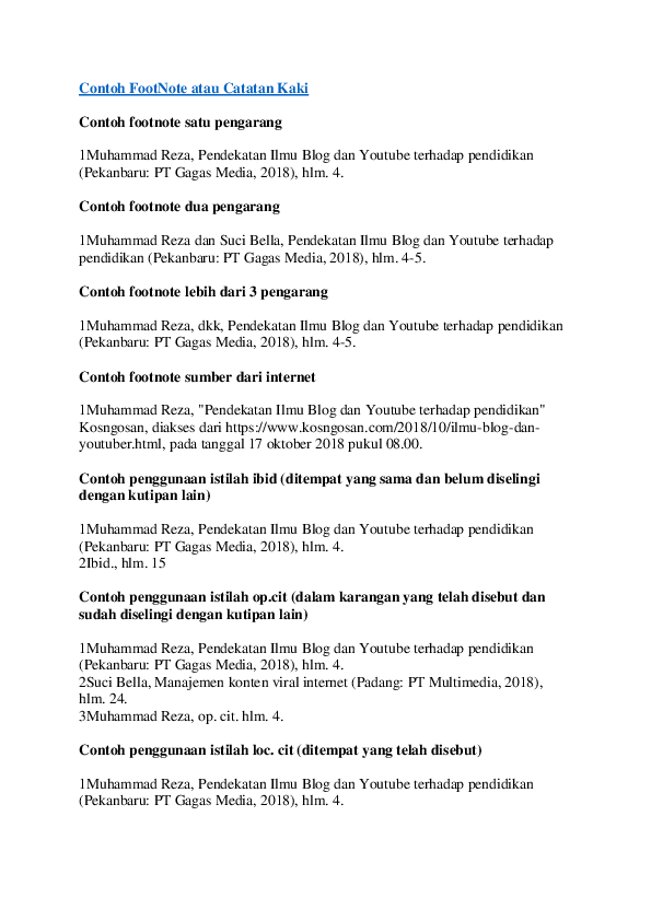 15 Contoh Makalah Dan Catatan Kakinya