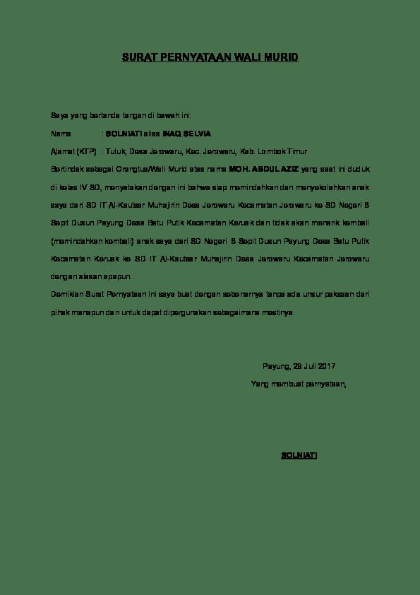 35++ Contoh surat pernyataan wali santri terbaru yang baik dan benar