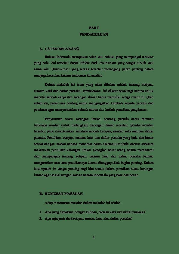 20 Contoh Makalah Tentang Catatan Kaki