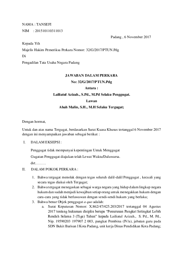 Contoh Surat Gugatan Dan Eksepsi Download Kumpulan Gambar