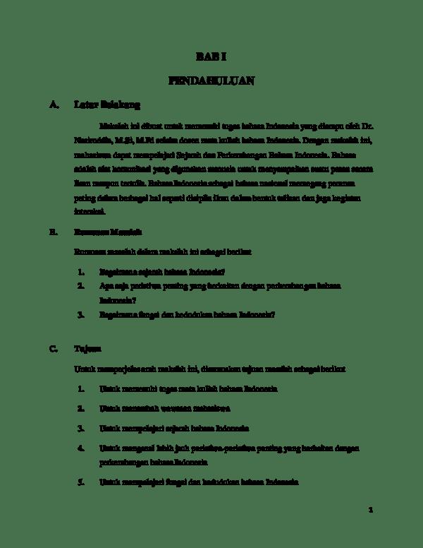 20 Contoh Makalah Sejarah Perkembangan Bahasa Indonesia