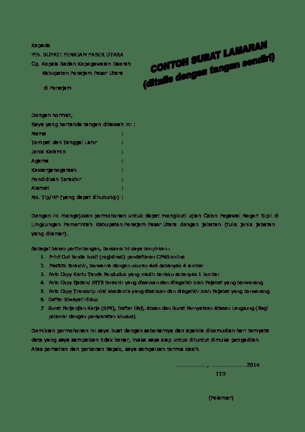 17 Contoh Surat Lamaran Pakai Cq