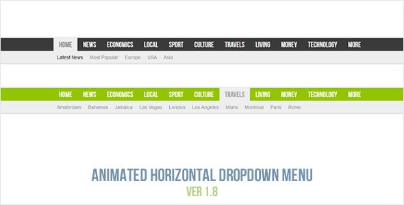 Menu suspenso horizontal animado - CodeCanyon Item à venda