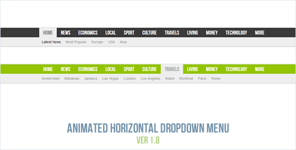 Animated Horizontal Dropdown Menu - CodeCanyon Item for Sale
