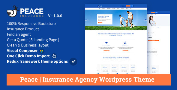 preview.  large preview - Peace – Insurance Agency WordPress Theme