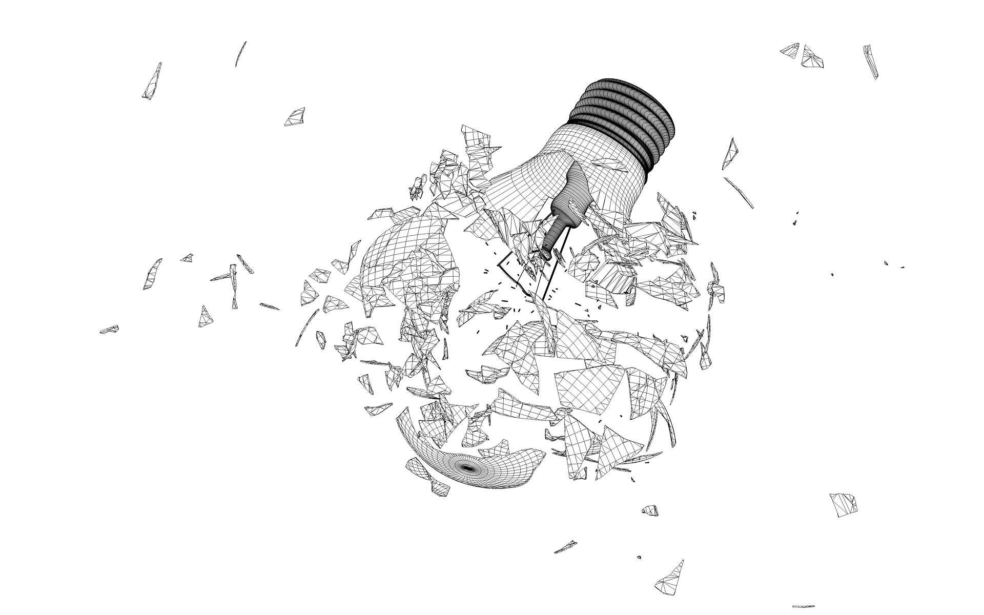 Broken 3d Lightbulb By Esseti