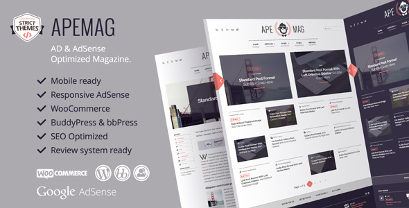 Apemag v1.0.6 – Stylish Magazine with Review System WP Theme