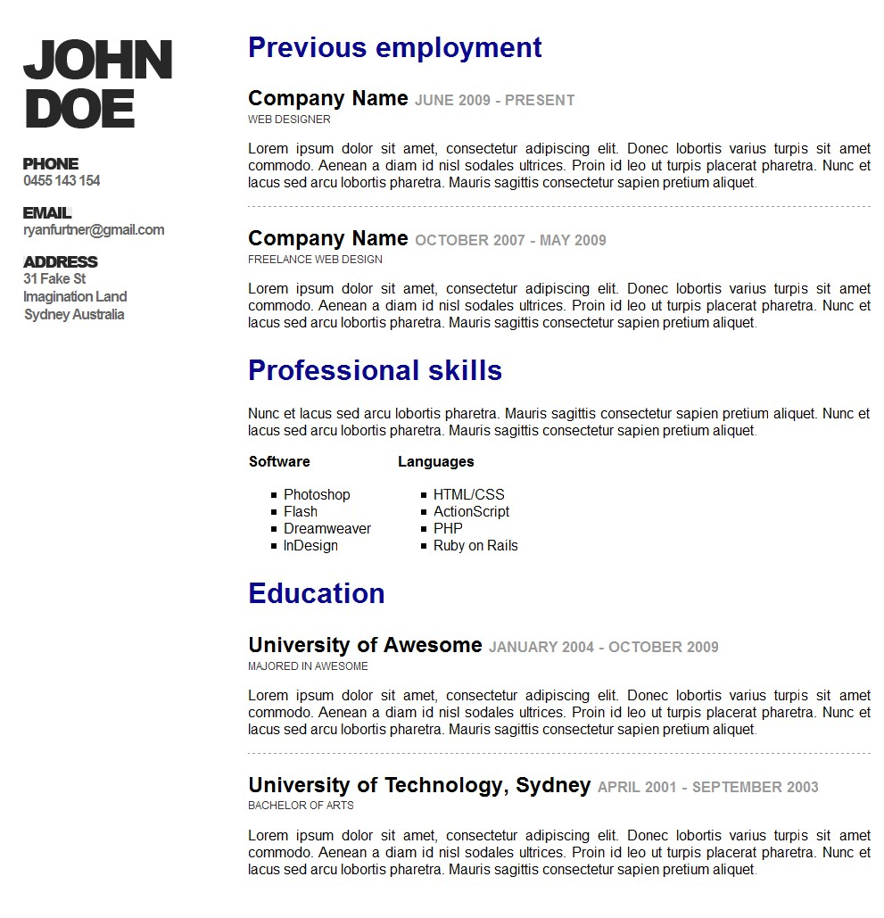 Ecommerce Resumes. awesome online resume cv themeforest. it ...