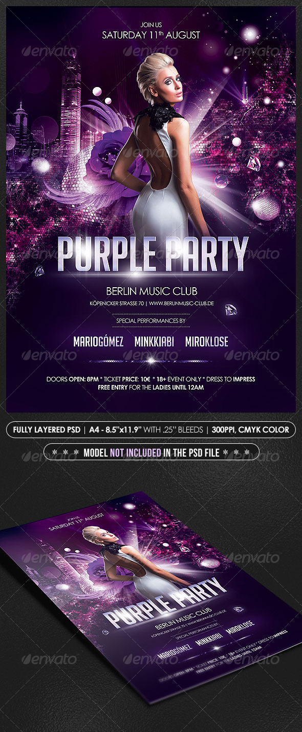 purple party poster flyer events flyers