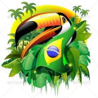 Toco Toucan with Brazil Flag Vector Graphic Art © BluedarkArt