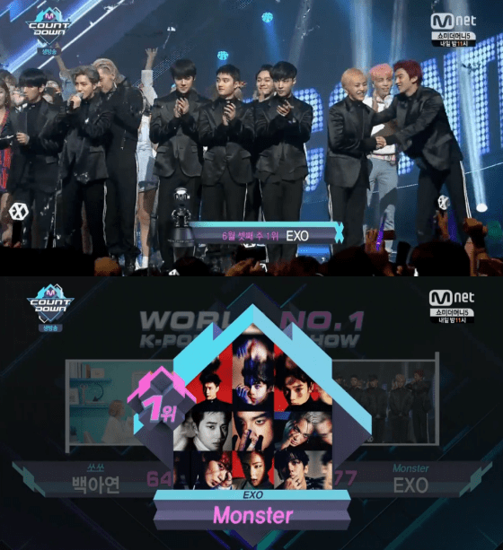 """EXO Takes """"Monster"""" 1st Win on """"M!Countdown,"""" Performances From DIA, CLC, Jonghyun, And More"""