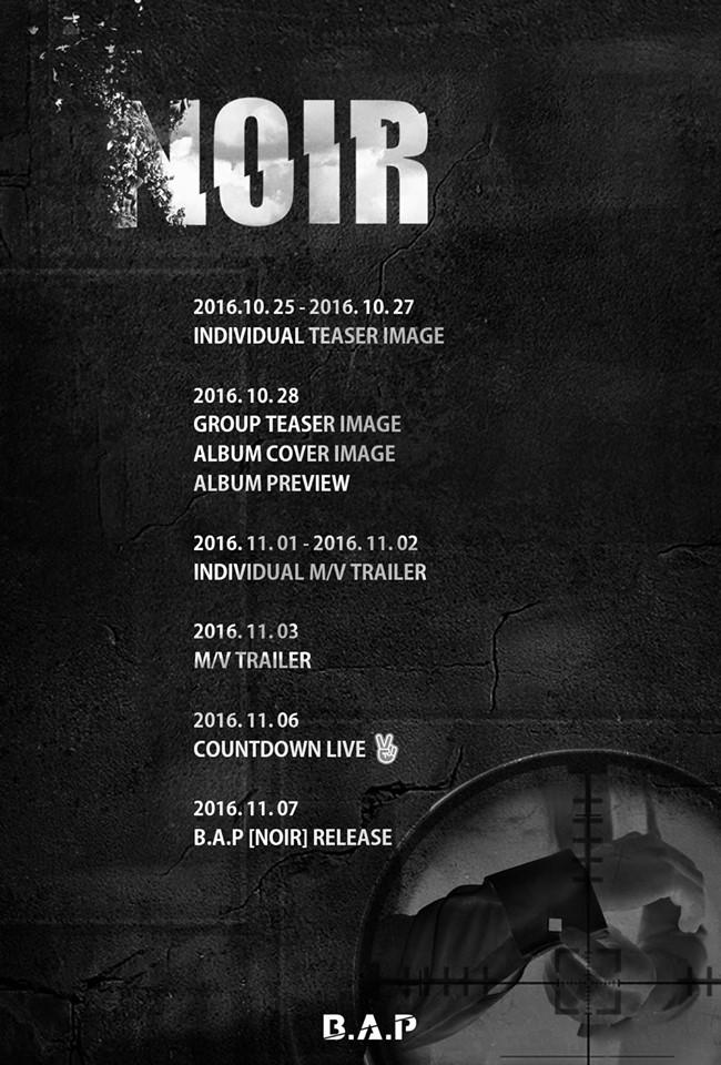 B.A.P NOIR comeback schedule