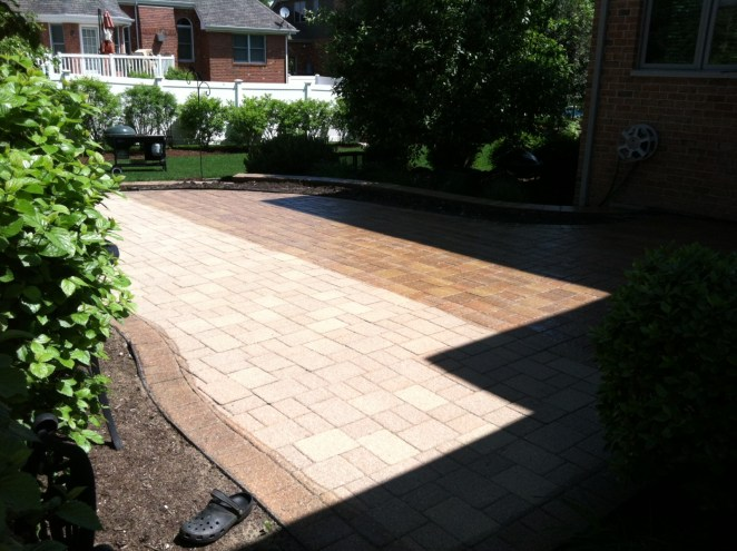 Partially Completed Photo of Stone Driveway