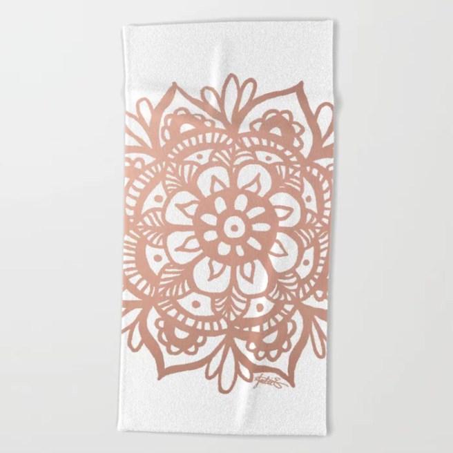 pink mandala beach towel summer