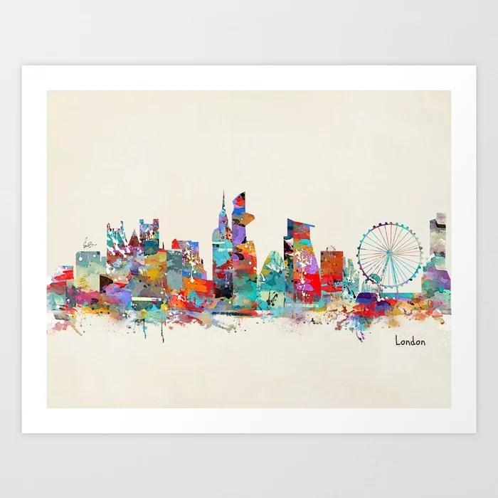 Sunday's Society6 | London city skyline watercolor artprint