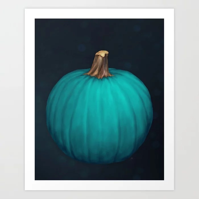Sunday's Society6 | Teal pumpkin painting art print