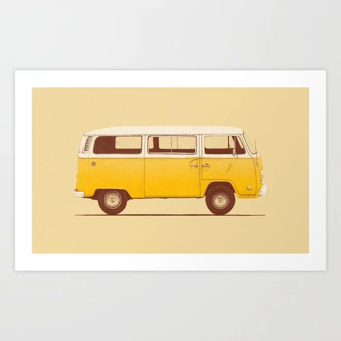 Sunday's Society6 | Yellow Volkswagen van illustration, art print