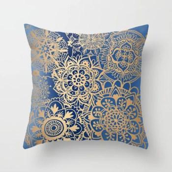 blue gold mandala throw pillow