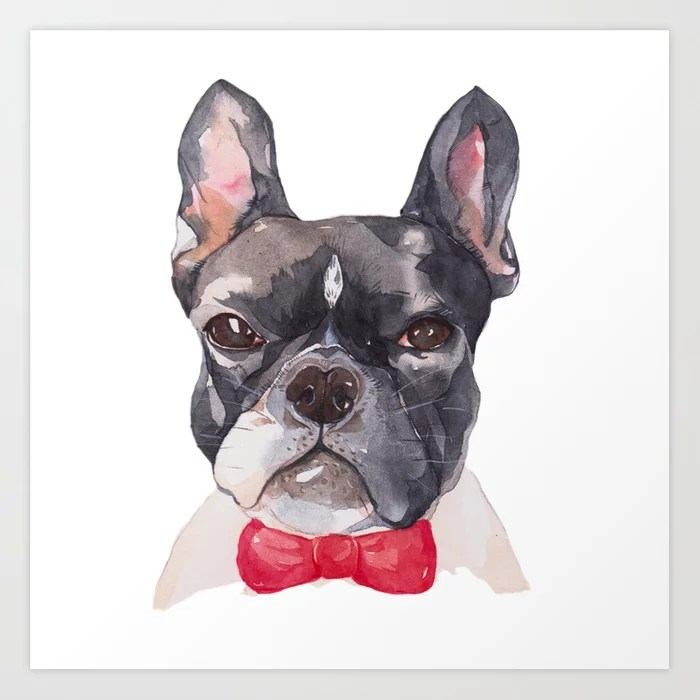 Sunday's Society6 | Art print of Frenchie dog with red bow illustration