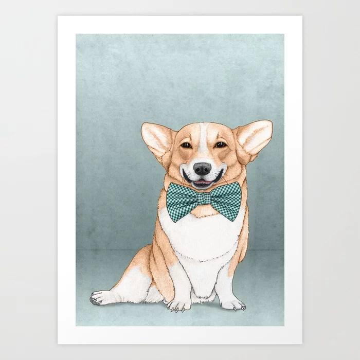 Sunday's Society6 | Art print of smiling Corgi dog with bow illustration
