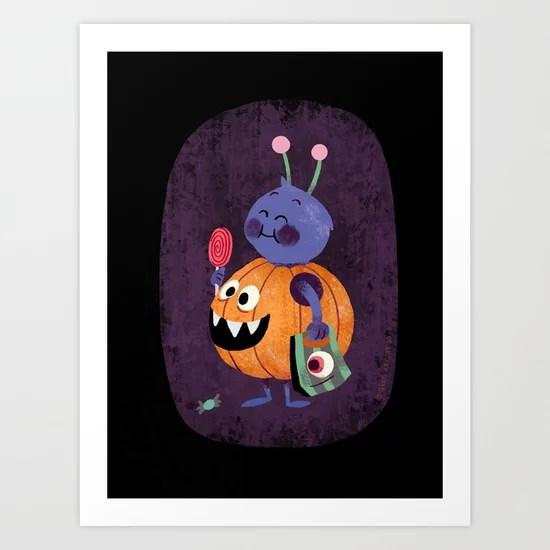 Sunday's Society6   Halloween candy pumpkin art print