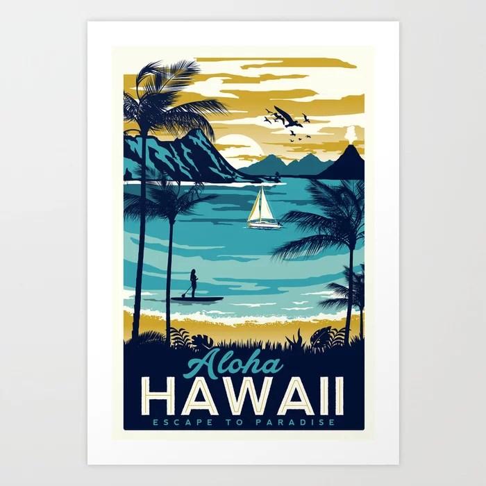 Sunday's Society6 - Aloha Hawaii art print