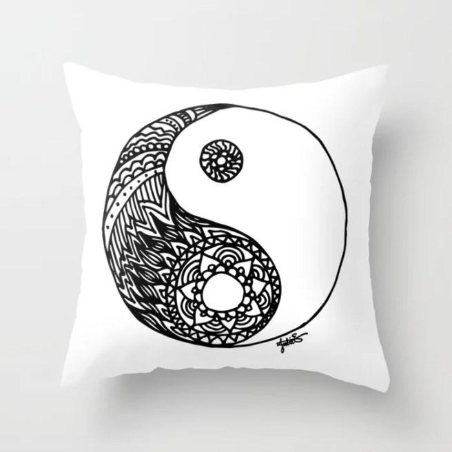 tangled zentangle yin yang throw pillow home decor