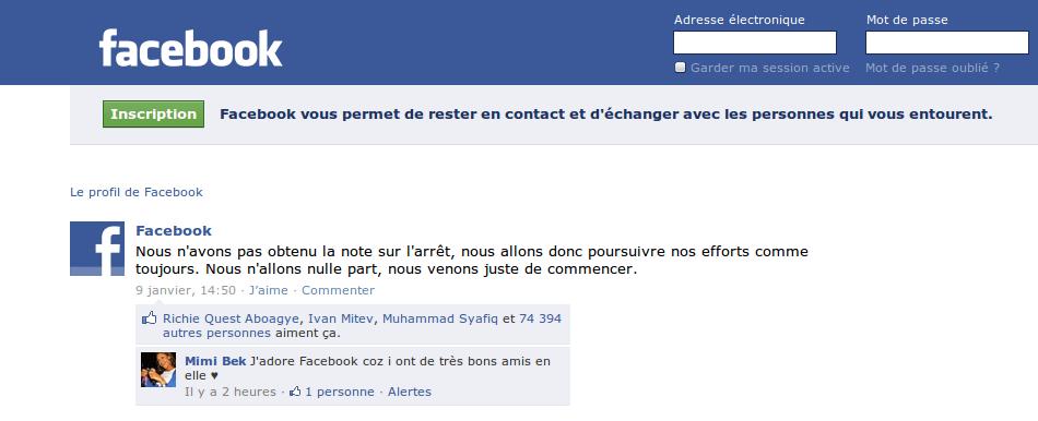 Message de la part de Facebook suite aux réactions des Facebookiens