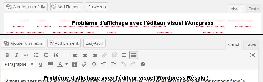Avant et Après : Probleme d'affichage avec l'éditeur visuel de WordPress