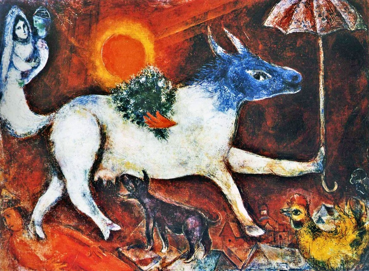 Marc Chagall A Cow With A Parasol
