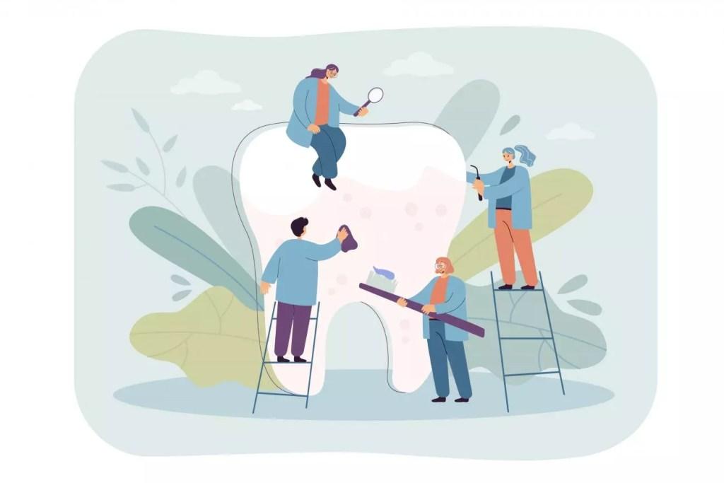 dentistas fazendo limpeza dental