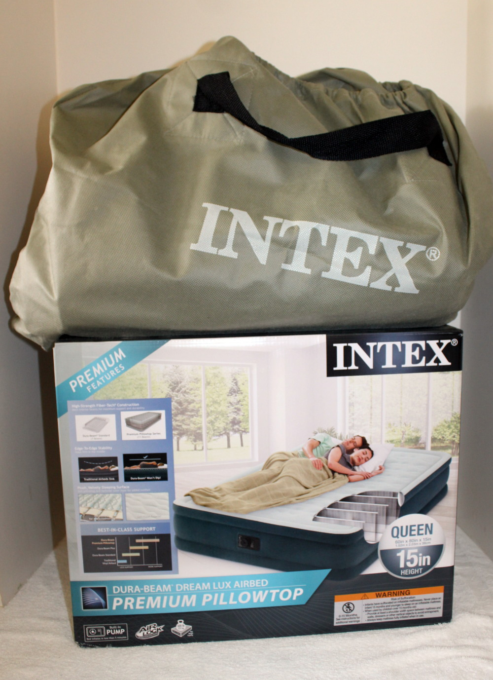 details about intex queen size 15 h inflatable pillow top airbed air mattress used in box