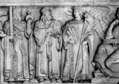 Muhammad, holding a Quran and sword, is in-between Constantine (L) and Justinian (R), who represent the Roman and Byzantine Empires against which he and his followers fought for over 1300 years.