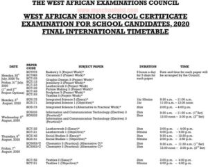 WAEC New Timetable For 2020 May/June SSCE