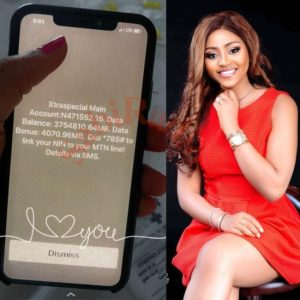 Regina Daniels shows off N471K airtime & 3 terabytes of data on her phone