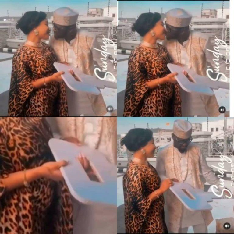 Tonto Dikeh gifts her man, Prince Kpokpogri, keys to an expensive gift  looks like she is pregnant