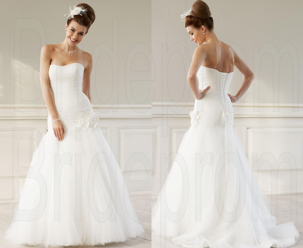 White/ivory Mermaid Wedding Dresses Strapless Bridal Gown