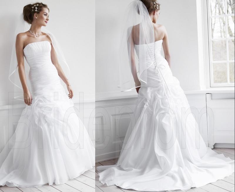 White/ivory Strapless Wedding Dresses Ball Bridal Gown Off