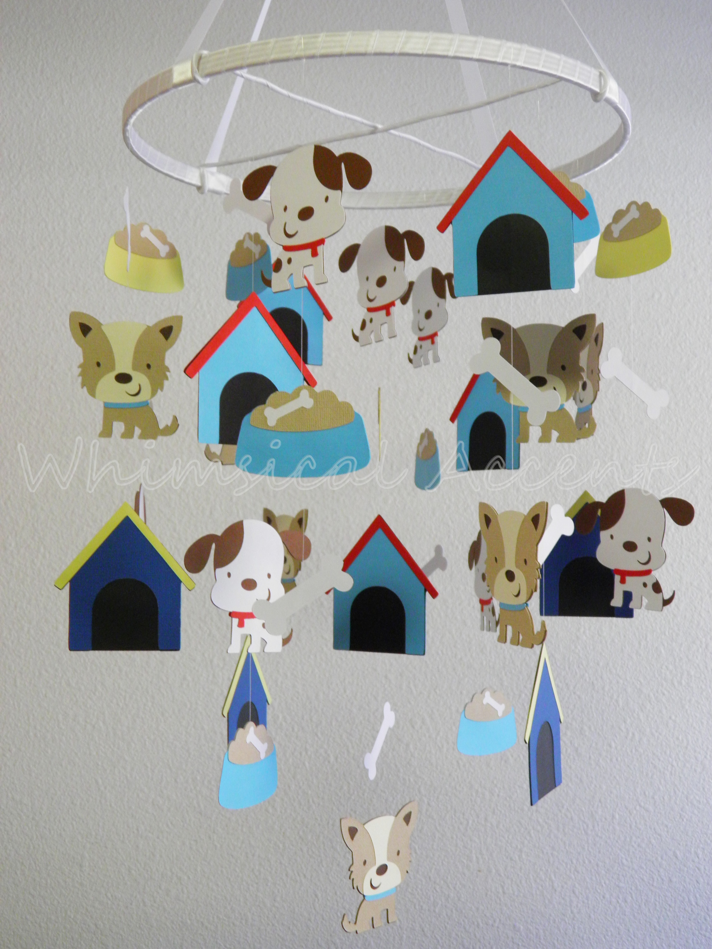 Puppy And Bone Baby Paper Nursery Mobile On Luulla