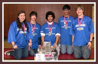 The world champion Staples robotics team (from left):  Erin Gandelman, Dylan Roncati, Haris Durrani, Mrinal Kumar, Alec Solder.  Missing from photo:  John Solder, Timothy Yang.  (Photo/Mrinal Kumar)