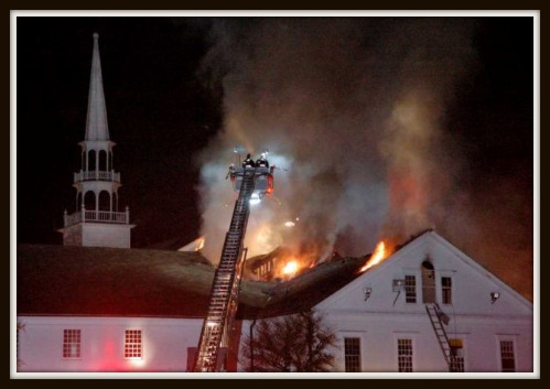 Firefighters from several towns battled to save the Saugatuck Congregational Church.